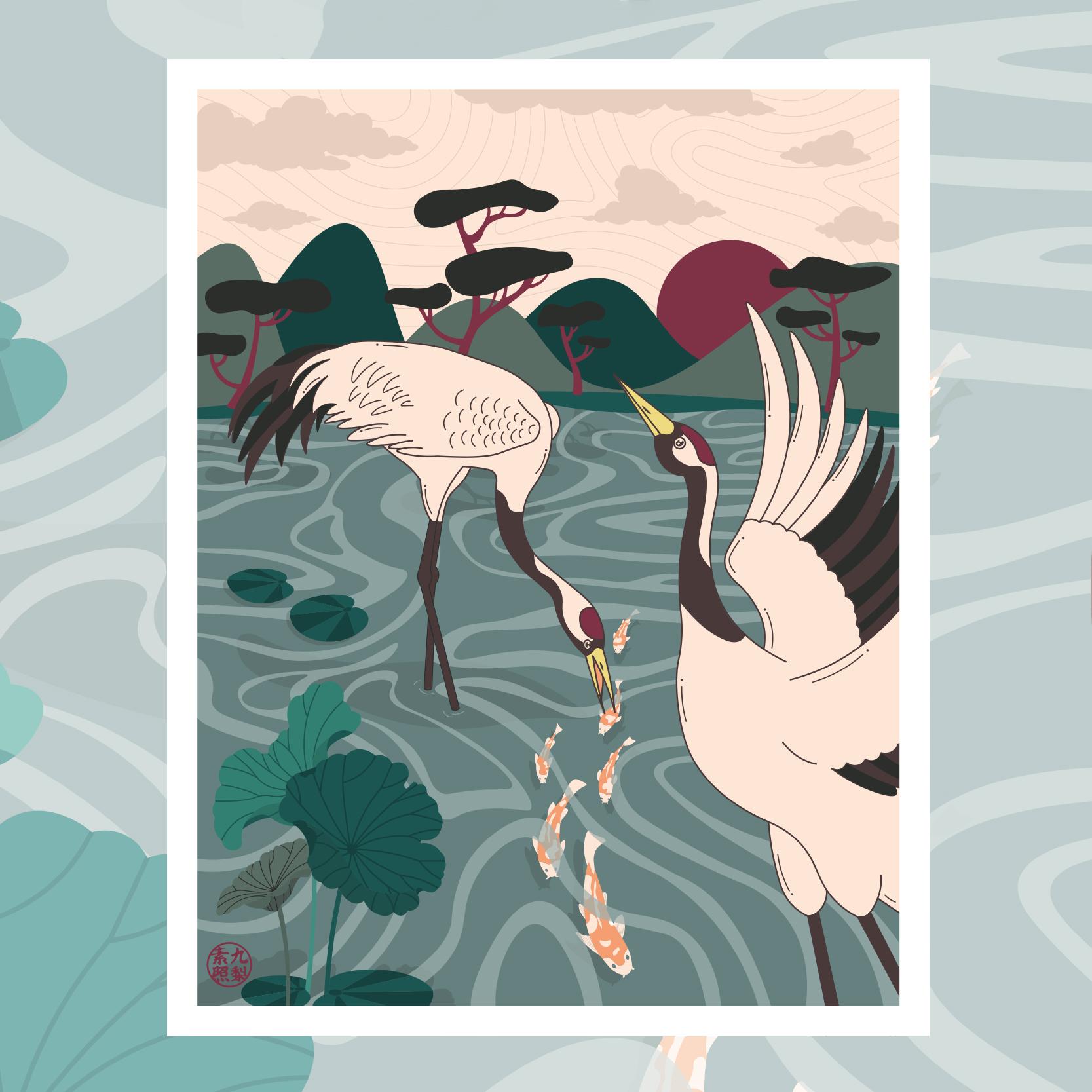 Affiche grue du japon